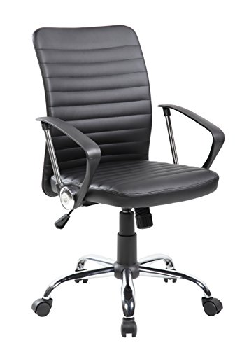 Kerland Mordern Ribbed Mid-Back Office Chair PU Leather Swivel Desk Chair by KERLAND