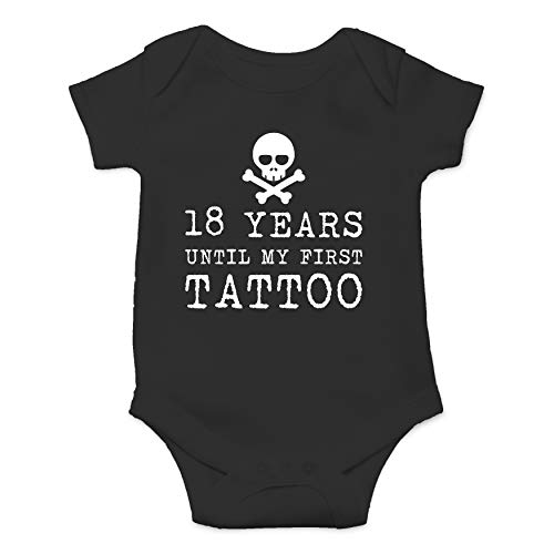 18 Years Until My First Tattoo Funny Cute Hilarious Baby Infant Romper (Black, 12 Months)]()