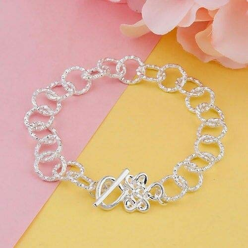 - Bright Silver Link Chain Bracelet 8 Inches Charm Base Celtic Knot Toggle Clasp