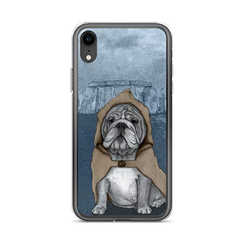iPhone XR Case Anti-Scratch Creature Animal Transparent Cases Cover English Bulldog in Stonehenge Free Hand Drawed Illus Animals Fauna Crystal Clear