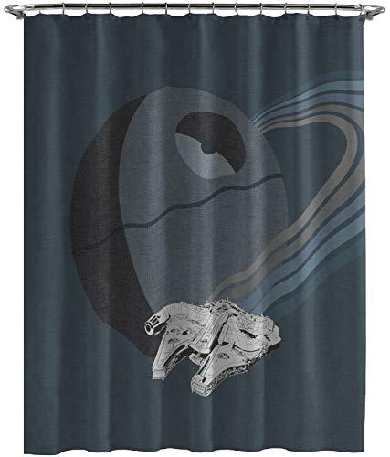 Jay Franco Star Wars Millennium Falcon Vs. Death Star Kids Shower Curtain - Fade Resistant Polyester, 70
