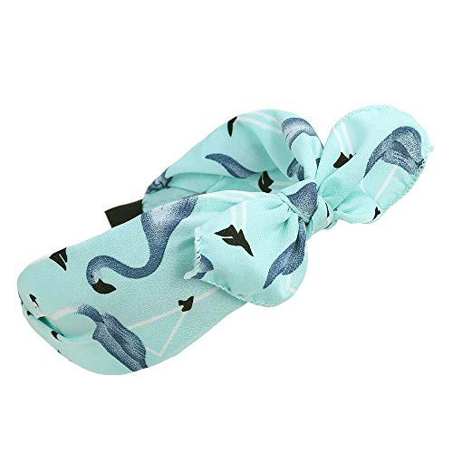 Women Ladies Wide Chiffon Headband Bow Hair Band Alice Band Hair Accessories (Colors - Blue)