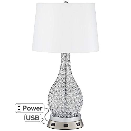 Kasey Beaded Gourd Table Lamp with USB Workstation Base - Possini Euro ()