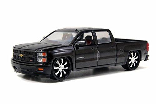 Jada 2014 Chevy Silverado Pickup, Black Toys 97027 - 1/24 Scale Diecast Model Toy Car, but NO Box (Chevy Silverado Model Scale)