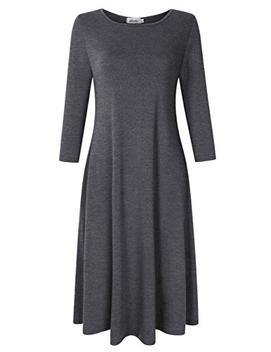 (MISSKY Women's 3 4 Long Sleeve Dresses for Women Midi Dress Scoop Neck Loose Swing Casual Dress with Pocket (XS,)