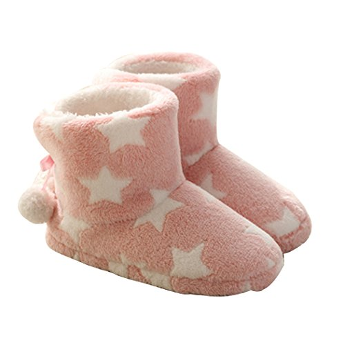 Slipper Pom Women's Poms Indoor Boots Star Garatia Cartoon Pink With And Printed zwvqxdE