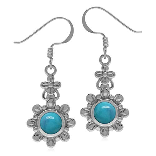 (Silvershake 6mm Genuine Round Shape Arizona Turquoise 925 Sterling Silver Flower Dangle Hook Earrings)