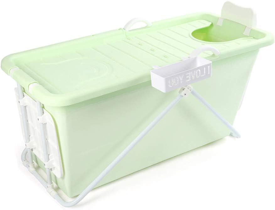 ABBD Bañera SPA Plegable para Adultos, bañera portátil de plástico Rectangular, bañera doméstica, bañera Profunda de Calidad con desagüe, Piscina Infantil Antideslizante-Green