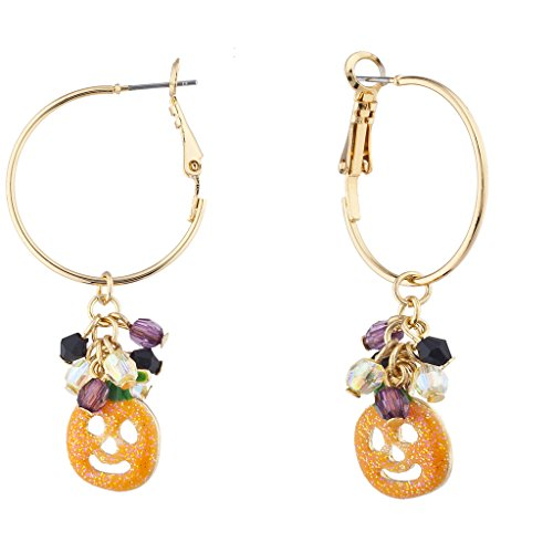 Lux Accessories Gold Tone Orange Glitter Pumpkin (Ma Na Halloween)