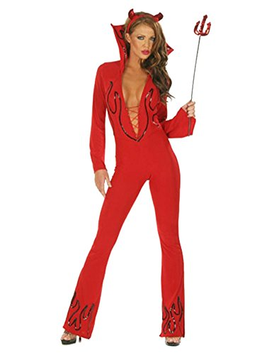 Devil Sexy Costumes Adult Jumpsuit (Women's Sexy Red Devil Jumpsuit (Large))