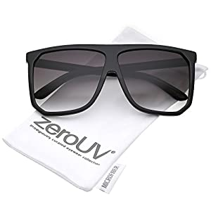 zeroUV - Oversize Two Toned Frame Square Lens Flat Top Sunglasses 62mm (Shiny Matte Black / Lavender)