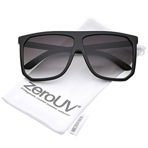 zeroUV - Oversize Two Toned Frame Square Lens Flat Top Sunglasses 62mm (Shiny Matte Black / - Sunglasses Kardashian