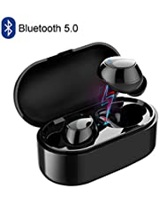 Wireless Earbuds Bluetooth 5.0 Headphones TWS True Wireless Earphones with Microphones Charging Case Noise Cancelling Stereo Waterproof Sport Exercise Running Mini in-Ear Bluetooth Headsets for Android iOS iPhone Samsung Black