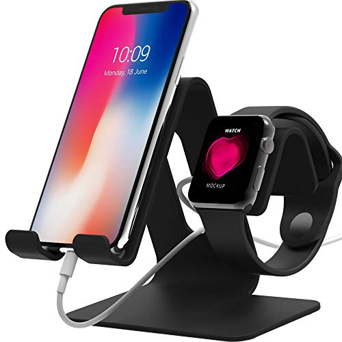[Updated Version C] Nalostyle Cell Phone Stand Compatible Apple Watch Charger Stand,2 in 1 Universal Aluminum Tablet Stand for iPhone and iwatch(38mm - 42mm),Tablets(Up to 12.9 inch)-Black (Universal Iphone Dock Apple)