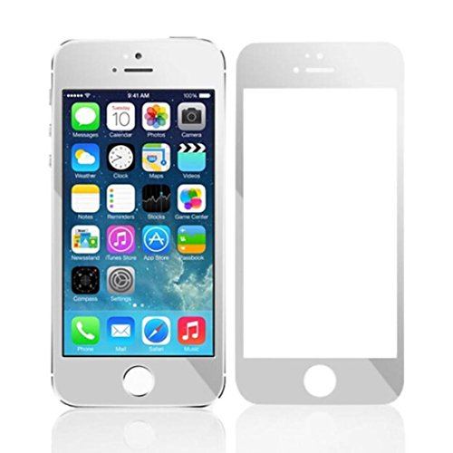 iPhone SE 5 5S 5C Film,LANDFOX Colorful Plating Tempered Glass Screen Protector Film for iPhone SE 5 5S 5C (Silver)