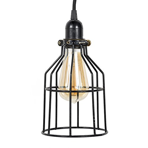 Rustic State Decorative Metal Cage Pendant Lamp by Rustic State with 15 Feet Toggle Switch Cord and Vintage Edison Light Bulb in Black For Sale