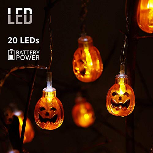 AOSTAR Halloween Pumpkin LED Fairy Lights, 20 LEDs Battery Operated String Lights for Halloween Decorations