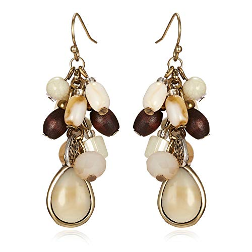 - Gmai Antique Ethnic Brocade Mexico Gypsy Engraved Lotus Hook Dangle Earrings for Women and Girls (Drop stones)