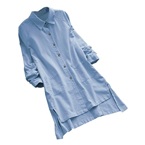 FEITONG Plus Size Women's Long Sleeve Loose Casual Pocket Button Long Tops Shirt Blouse with Pocket(3XL,Blue) by FEITONG