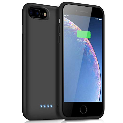 Battery Case for iPhone 8 Plus/7 Plus, [8500mAh] Xooparc Protective Portable Charging Case Rechargeable Extended Battery Pack for Apple iPhone 8 Plus&7 Plus (5.5') Backup Power Bank Cover - Black (Best Power Bank For Iphone 7 Plus)
