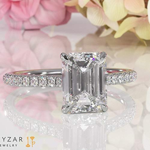 Emerald Cut Engagement Ring, Moissanite Engagement Ring Promise Ring Dainty Ring Solitaire Engagement Ring Minimalis Delicate Ring In White Gold, Rose Gold, Yellow Gold 1.75ct Moissanite .2ct Diamonds ()