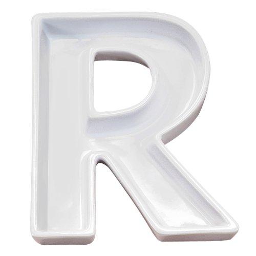 - Ivy Lane Design Ceramic Love Letter Dish, Letter R, White