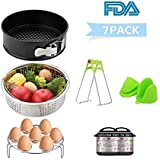 Instant Pot Accessories Set Kit(7Pcs) - LEWOTE 5/6/8 Qt Pressure Cooker Accessories[Include Non-stick Springform Pan/Steamer Basket/Egg Steamer Rack/Oven Mitts/DishClip/2Pcs Cheat Sheet Magnets]