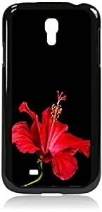 Red Hibiscus - Case for the Samsung Galaxy S4 i9500- Hard Black Plastic Snap On Case with Soft Black Rubber Lining