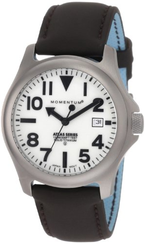 Momentum Men's 1M-SP00W12C Atlas White Dial Brown Touch Leather Watch
