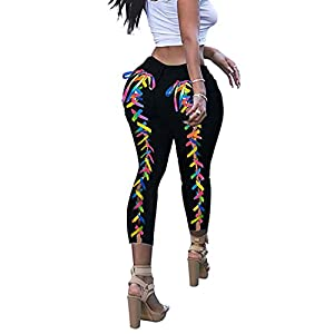 ✿FASHIONABLE FOR WOMEN-These jeans for teen girls feature with sexy stretchy skinny design, providing all-around coverage, curve enhancing and form fitting, highlighting your silhouette and keeping your chic. Fashion ripped jeans for women pair with colorful lace up from ankle to hip, fresh and bright colors, graceful and charming style, making a eye-catching casual unique look in crowd, it will help to get lots of compliments. ✿HIGH QUALITY-These womens high waisted skinny ripped jeans are made of high quality, soft, lightweight, stretchy denim cotton fabric, make the womens jeans easy to full on and very comfortable to wear, while also being durable and breathable. Great stretch ripped jeans are hard to come by! Don't hesitate to buy it! ✿BE STAR IN ANY OCCASIONS-These jeans for women high waisted stretch can both be everyday jeans and dress up jeans. Also it's a great choose for casual daily, school, party, night out, club, dating, dinner, photo shoot, street, shopping, travel, outdoor, birthday, beach, summer, spring, autumn.