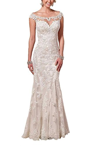 Satin Sheath (Firose Satin Sheath Illusion Neckline Wedding Dresses Lace Mermaid Ivory US 18plus)