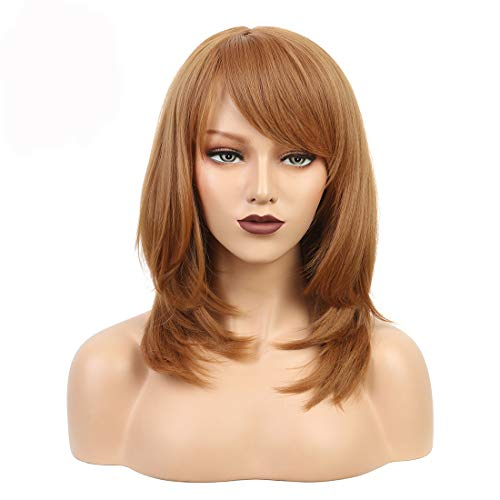 Wiginway Short Wig with Oblique Bang Natural Yaki Straight Synthetic Wigs for Women Dark Auburn Wig Heat Resistant Natural Fiber