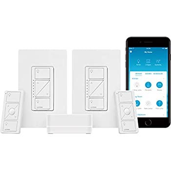 Image of Home Improvements Lutron Caseta Smart Start Kit, Dimmer Switch (2 Count) with Smart Bridge and Pico remotes, Works with Alexa, Apple HomeKit, and the Google Assistant | P-BDG-PKG2W-A | White