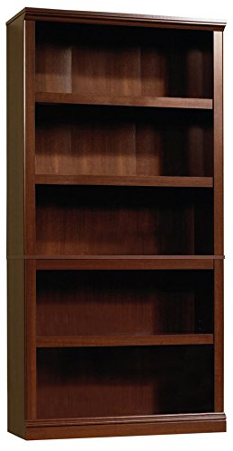 Sauder 412835 5 Shelf Bookcase, L: 35.28 x W: 13.23 x H: 69.76, Select Cherry finish