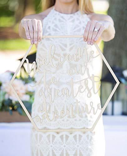 Boho Wedding Welcome Sign Hexagon Adventure Begins Modern Boho Sign for Wedding Ceremony or Reception Decor