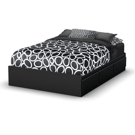 South Shore Storage Full Bed Collection 54-Inch Full Mates Bed, Pure Black (Full Size Bed Frame With Storage Drawers)
