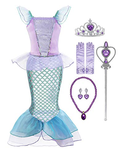 Padete Little Girl Mermaid Princess Costume Sequins Party Dress (8-9 Years, Purple with Accessories)]()