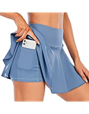 EASE ART Pleated Tennis Skirts for Women with Pockets High Waisted Shorts Women's Athletic Golf Skorts Casual Activewear