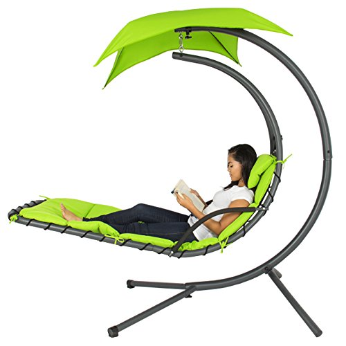 Best Choice Products Hanging Chaise Lounger Chair Arc Stand Air Porch Swing Hammock Chair Canopy Gr (Modern Patio Lounge Chair)