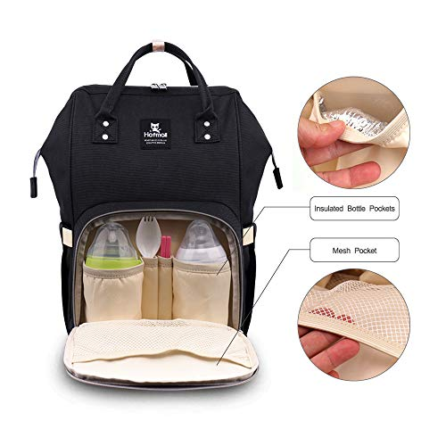 41z9wrPq3IL - Hafmall Diaper Bag Backpack - Waterproof Multifunctional Large Travel Nappy Bag (Black)