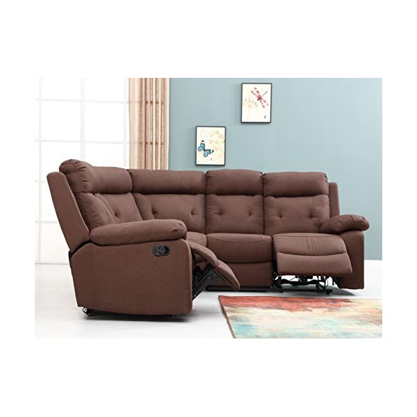 "Blackjack Furniture 9443-BROWN Albany Collection Fabric Upholstered Reclining Sectional, 156"", Brown"