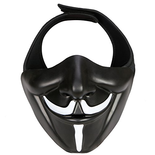 Outry Half Face Mask - One Size Fits Most - Lower Face Protective Mask for Airsoft/Paintball/BB Gun/CS Game/Hunting/Shooting, Ideal Mask for Halloween, Cosplay, Costume Party and Movie Prop ()