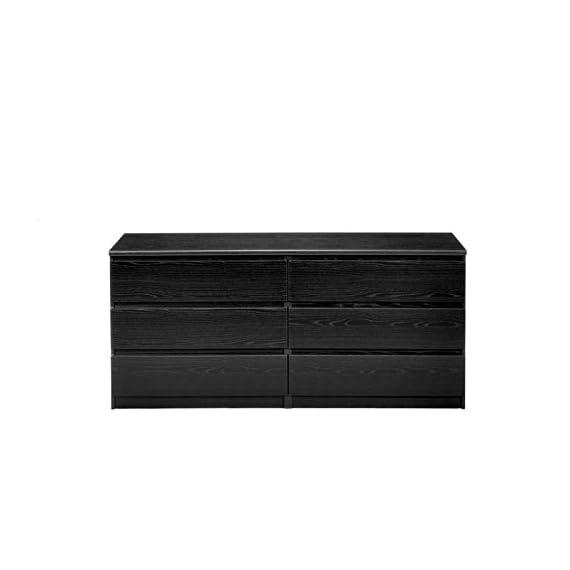 Pemberly Row Modern Contemporary 6 Drawer Wide Double Bedroom Dresser in Black Woodgrain - Six Drawer Double Dresser Foil surface Black Woodgrain finish - dressers-bedroom-furniture, bedroom-furniture, bedroom - 41z9xM0dhTL. SS570  -