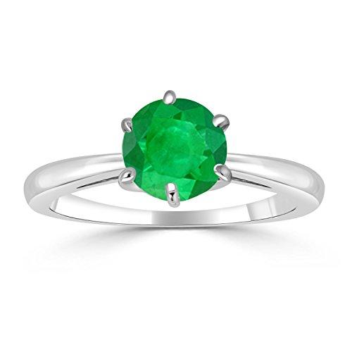 Diamond Wish 14K White Gold Round Green Emerald Gemstone Solitaire Ring (1/4 carat TW) 6-Prong Set, Size 6.5