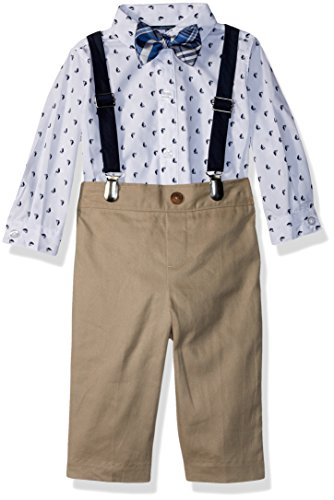 Nautica Baby  Boys' Set with Shirt, Pant, Suspenders, and Bow Tie, Khaki Sail Boat, 12M