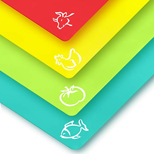 Plastic Cutting Boards for Kitchen - Quality Thin Cutting Mat Set 4 Color - Non-Toxic Flexible & Perfect for Chopping Meats, Vegetables, Beef, Fish, Chicken - Food Icons - Extra ()