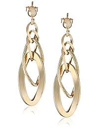 "14k Yellow Gold Italian Polished and Textured Dangle Earrings, 1.75"""