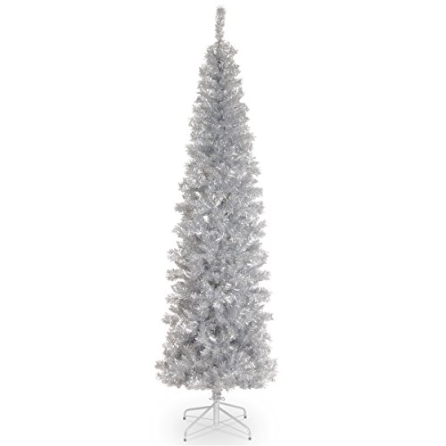 National Tree Pine 7 Foot Silver Tinsel Tree (Silver Christmas Pink And)
