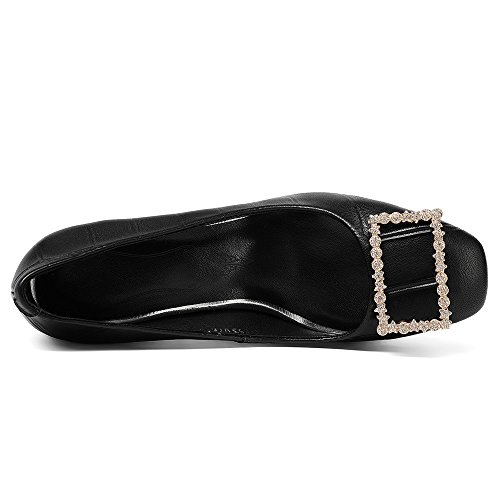 Leather Pumps Nine Seven Round Shoes Handmade Black Elegant On Heel Stiletto Slip Genuine Trendy Toe Women's qExwOrwTI