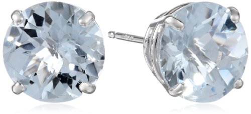 10k White Gold Round Checkerboard Cut Aquamarine Stud Earrings (8mm)